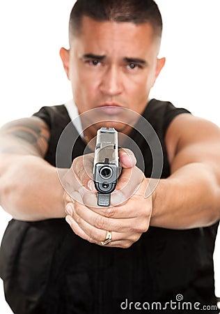 Hispanic Cop with Pistol