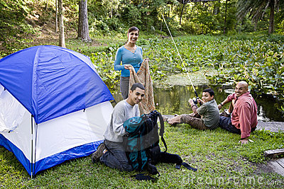 Hispanic family camping