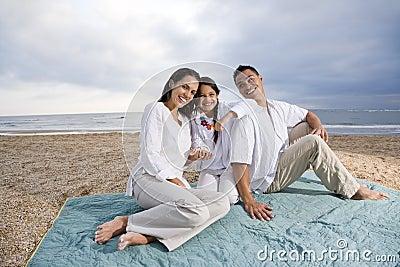 Hispanic family sitting on blanket at beach