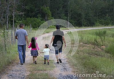Hispanic Family - Walking Home