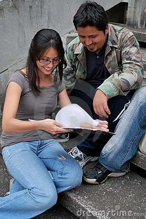 Hispanic friends studying together