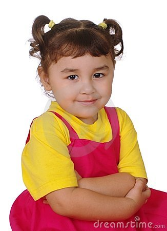 Hispanic girl arms crossed, three years