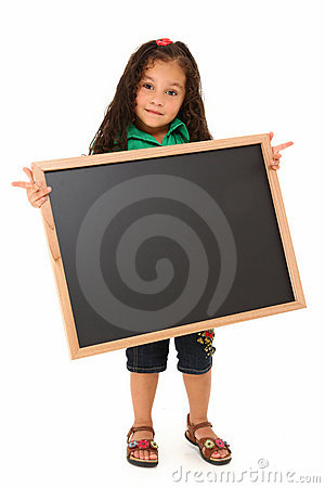 Hispanic Girl with Blank Blackboard