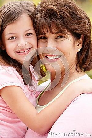 Hispanic grandmother and granddaughter