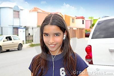 Hispanic latin teenager girl earphones music