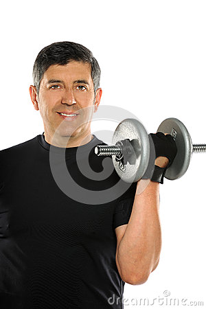 Hispanic Man Curling Dumbbell