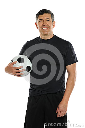 Hispanic Man Holding Soccer Ball