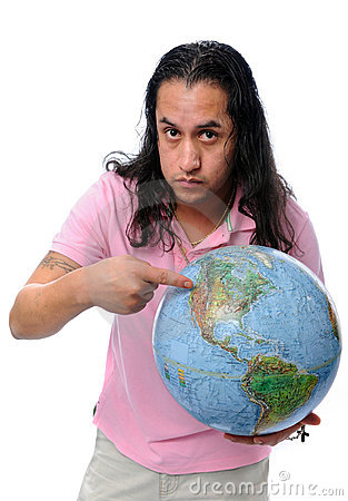 Hispanic Man Pointing to Globe