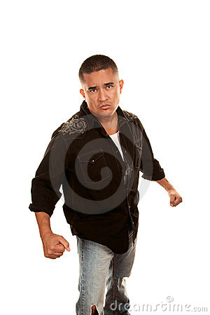 Hispanic Man Preparing for a Fight