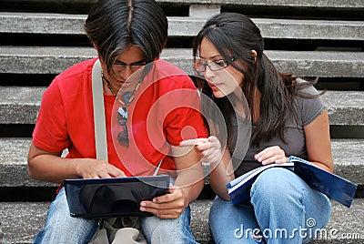 Hispanic students on a laptop