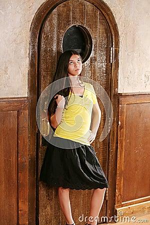 Hispanic teen in skirt