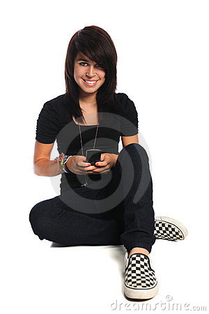 Hispanic Teen Using Cellphone