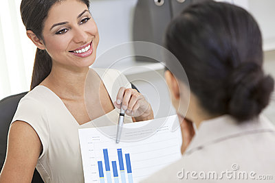 Hispanic Woman or Businesswoman in Office Meeting
