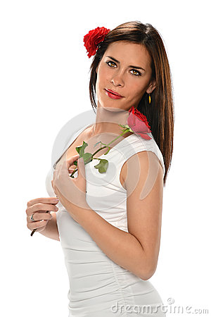 Hispanic Woman Holding Red Rose