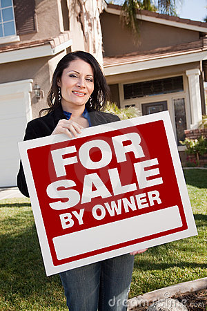 Hispanic Woman Holding For Sale By Owner Sign