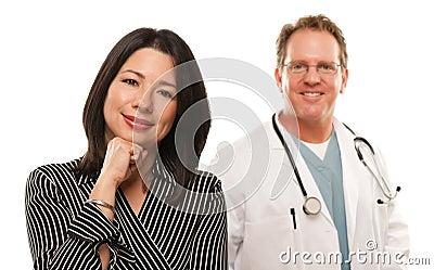 Hispanic Woman with Male Doctor or Nurse