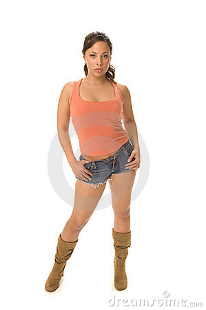 Hispanic woman modeling in studio