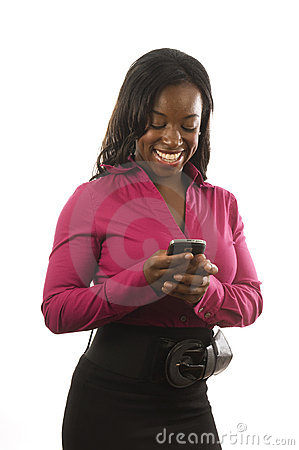 Hispanic woman personal device cell phone