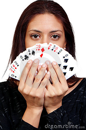 Hispanic Woman Playing Cards