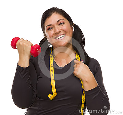 Hispanic Woman with Tape Measure Lifting Dumbbell