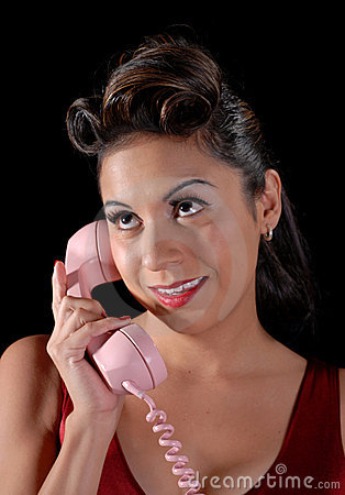Hispanic Woman On Telephone