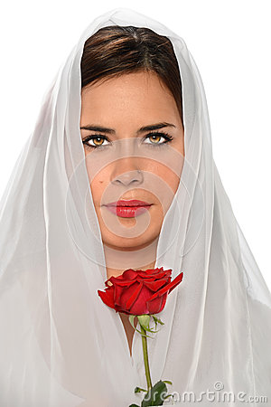 Hispanic Woman With Veil and Rose