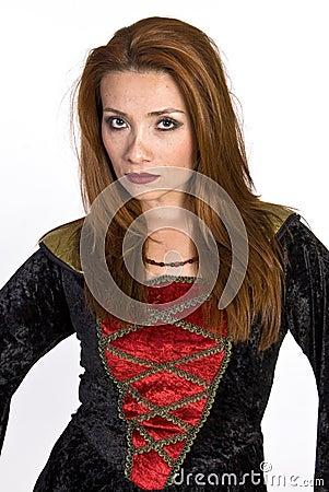 Hispanic woman wearing a costume dress
