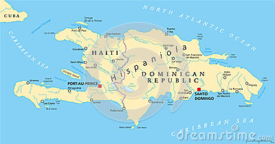 Hispaniola Political Map With Haiti And Dominican Republic Cartoon