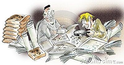 Historians studying ancient manuscripts