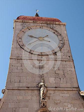 The historic bell tower in Trogir
