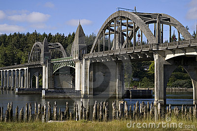 Historic bridge over Siuslaw River Florence Oregon