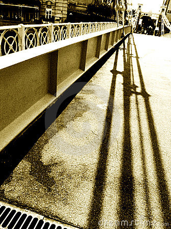 Historic bridge and shadow in monochrome