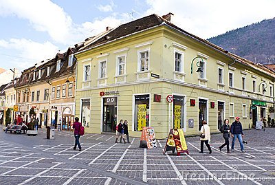 Historic buildings in Brasov city Editorial Stock Image