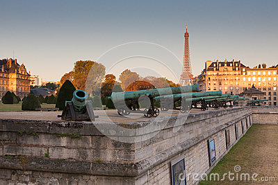 Historic cannon in Les Invalides museum in Paris