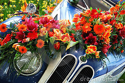 Historic Car and Flowers