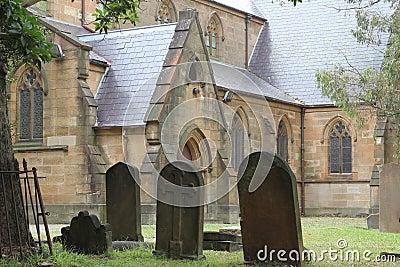 Historic church with churchyard