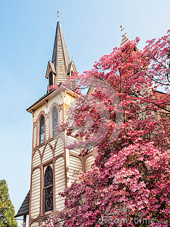 Free Historic Church In Spring Stock Photography - 55957242