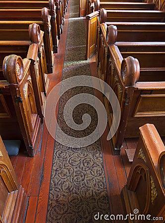 Historic Church Interior Pews