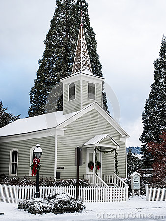 Historic church with snow