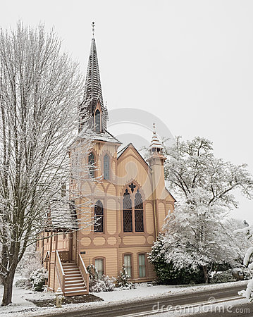 Free Historic Church With Snow Stock Photography - 97428542