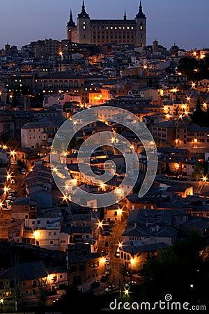 Historic city at night