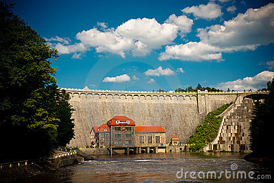 Historic dam in Pilichowice, Poland