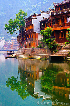 Historic Diaojiao house in Fenghuang, China