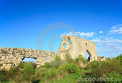 Historic fortress stony walls (Crimea, Ukraine)