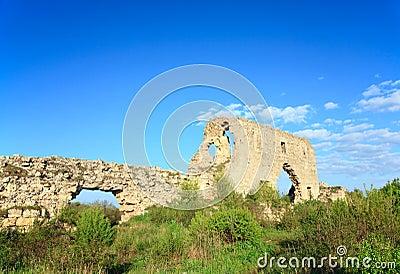 Historic fortress stony walls (Crimea, Ukraine)