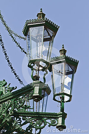 Historic gas lamp-post in Prague