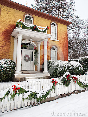Historic home with Christmas decorations