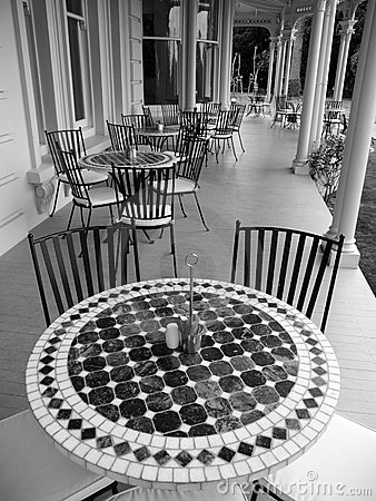 Historic home: verandah cafe tables