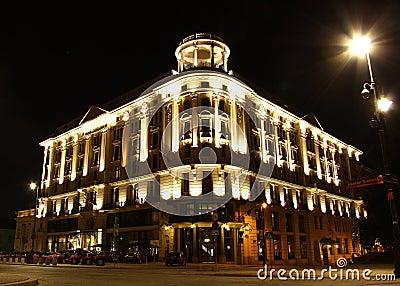 Historic hotel Bristol in Warsaw (Poland) at night Editorial Stock Image