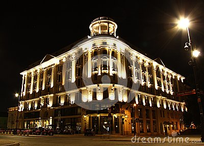 Historic hotel Bristol in Warsaw (Poland) at night Editorial Stock Image